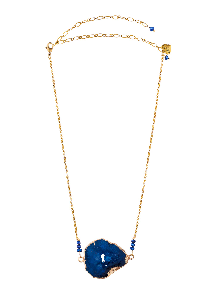 Cobalt Blue Freshwater Pearl & Agate Crystal Necklace