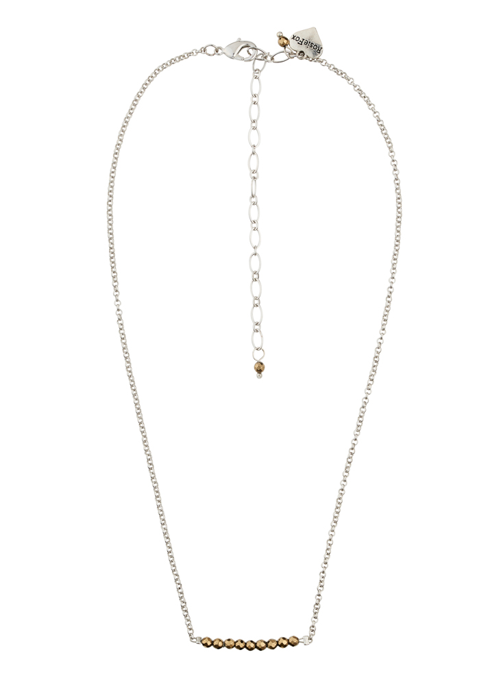Pyrite Silver Chain Bar Necklace