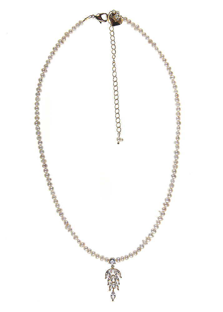 Ivory Freshwater Pearl & Crystal Leaf Necklace