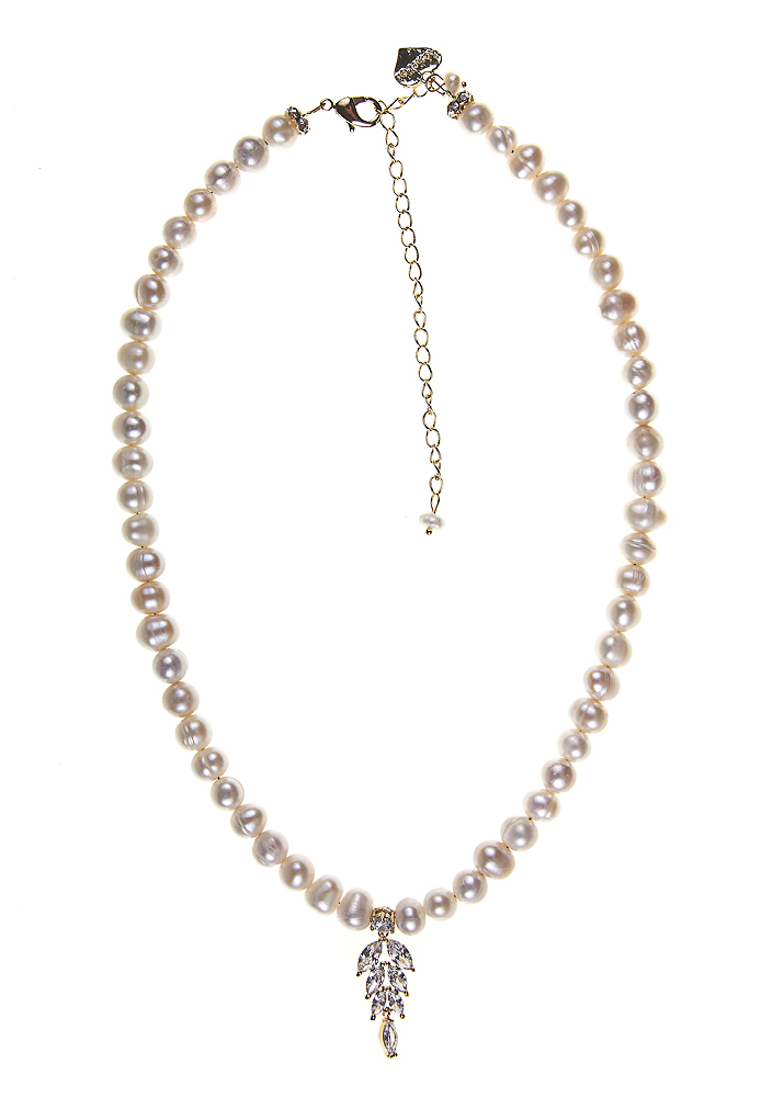 Ivory Freshwater Pearl Diva Crystal Leaf Necklace