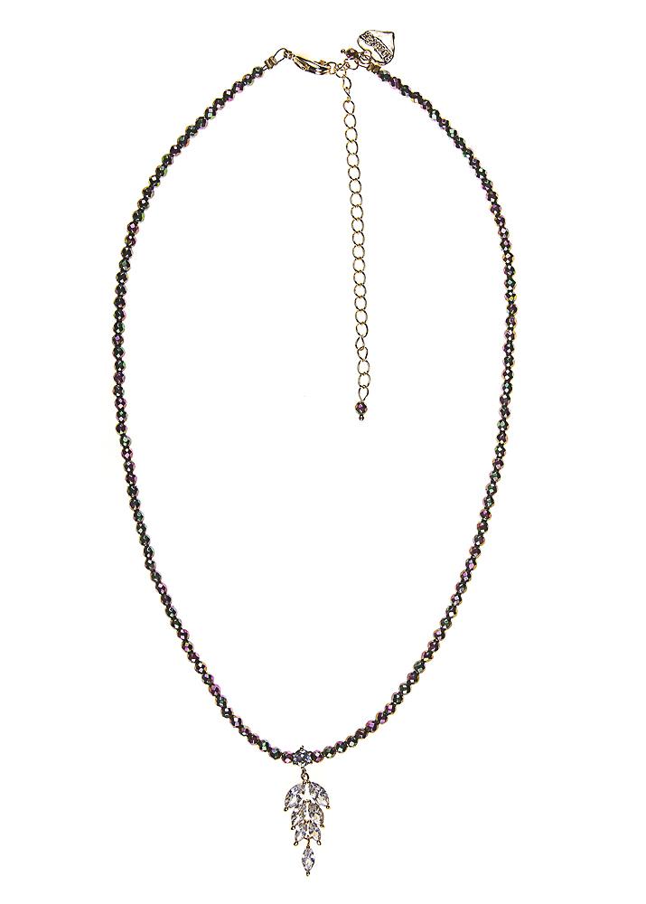 Blush Pyrite Crystal Leaf Necklace