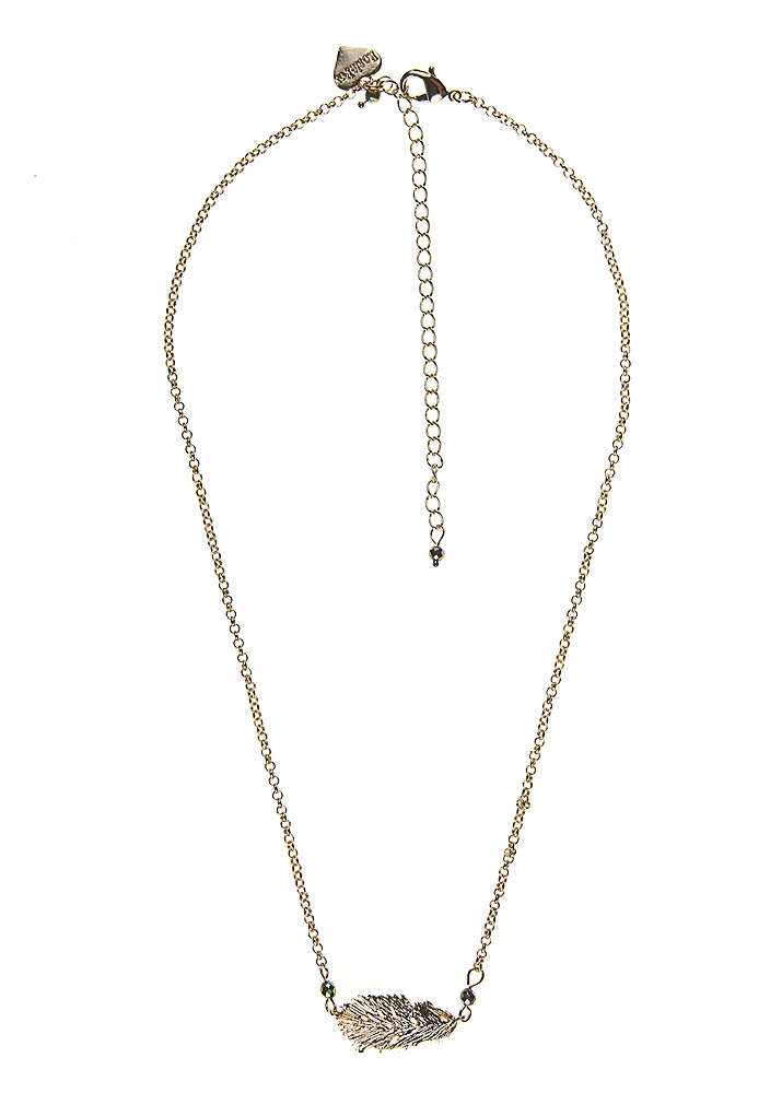 Blush Pyrite Gold Lucky Feather Chain Necklace
