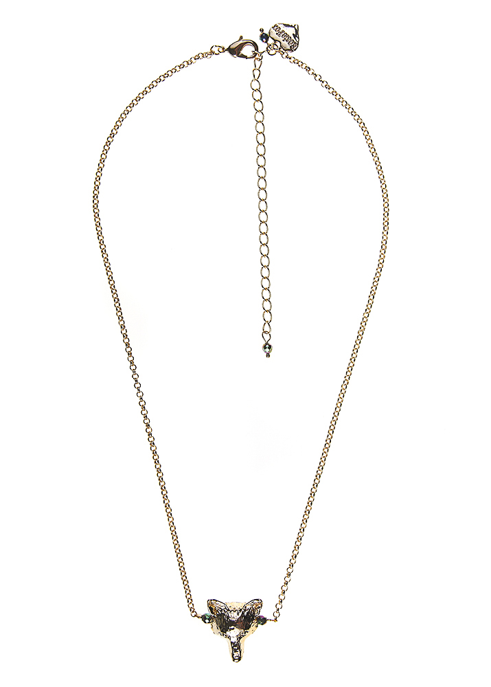 Blush Pyrite Gold Fox Chain Necklace