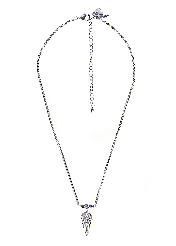 Silver Hematite Crystal Leaf Chain Necklace
