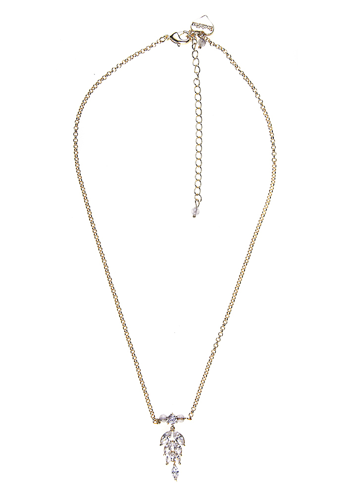 Dove Crystal Feather Gold Necklace
