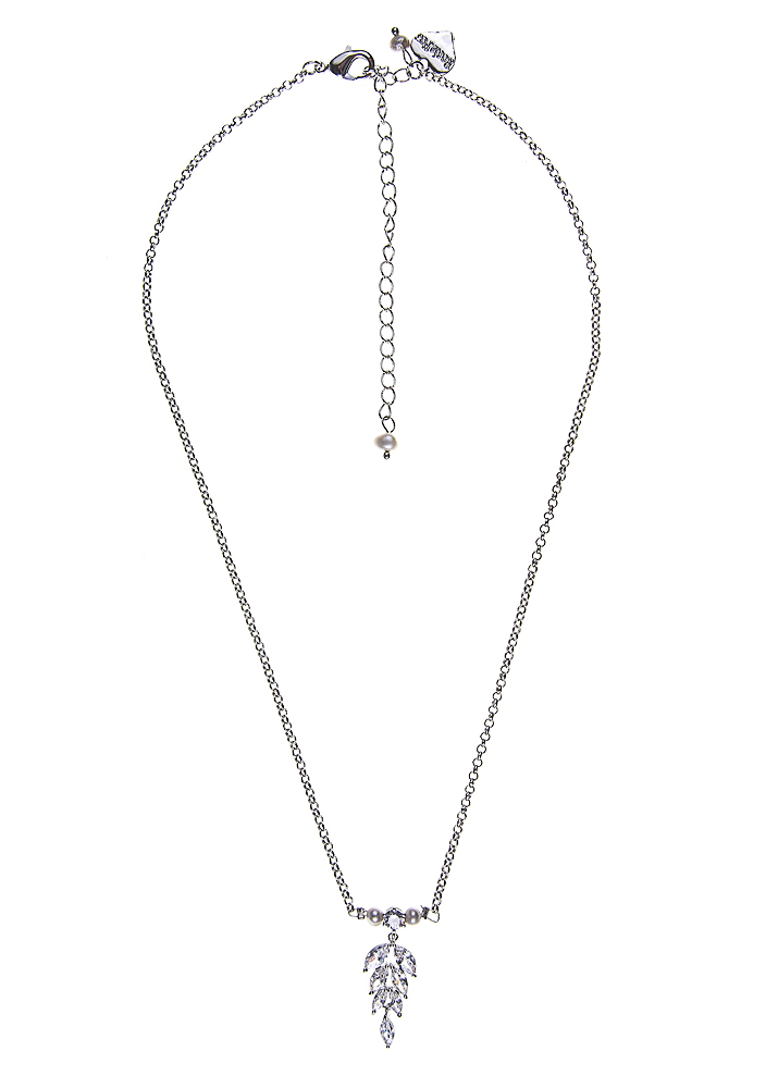 Grey Freshwater Pearl Silver Crystal Leaf Chain Necklace
