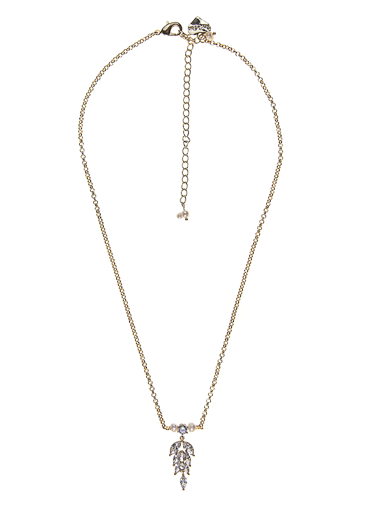 Ivory Freshwater Pearl Gold Crystal Leaf Chain Necklace