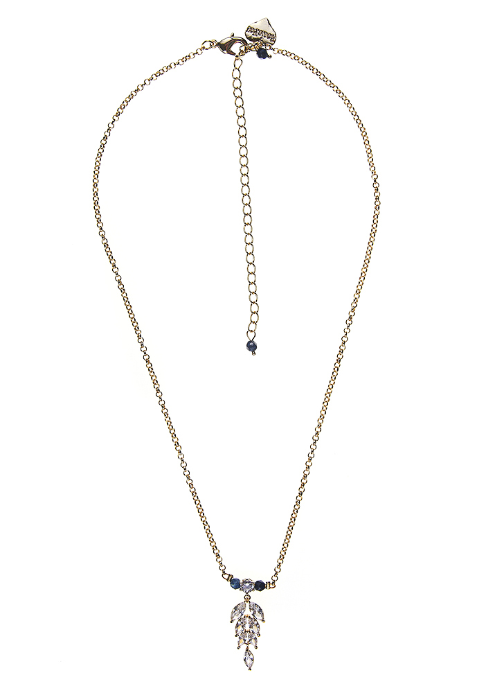 Royal Navy Agate Crystal Leaf Chain Necklace