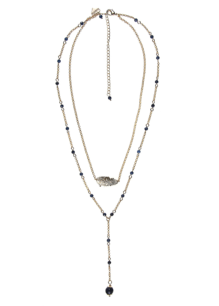 Royal Navy Agate Lucky Feather Layer Necklace