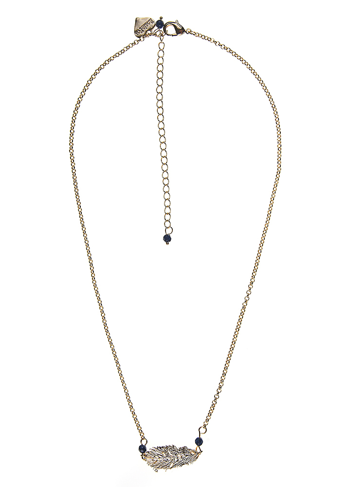 Royal Navy Agate Lucky Feather Chain Necklace