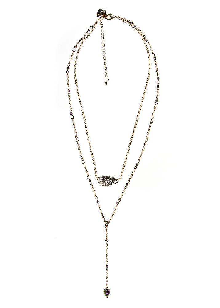 Blush Pyrite Lucky Feather Layer Necklace