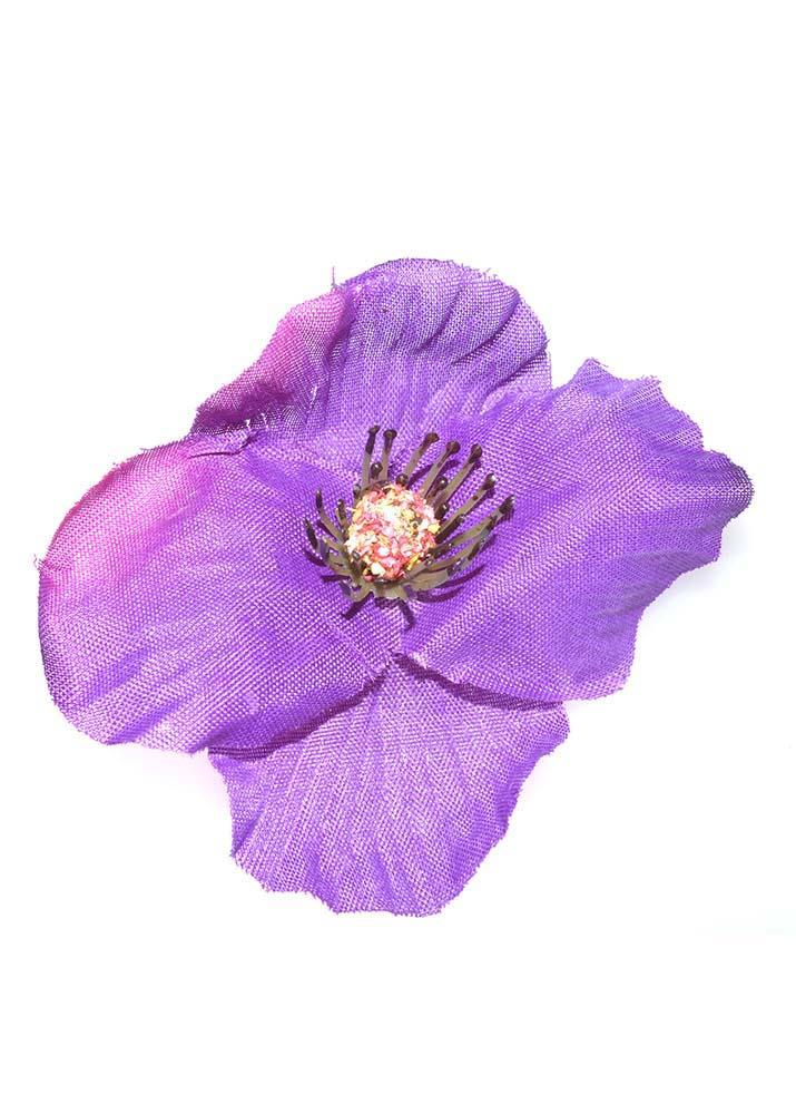 Purple Poppy Hairclip & Brooch