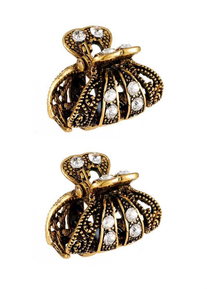 Pair of mini gold crystal hairclips