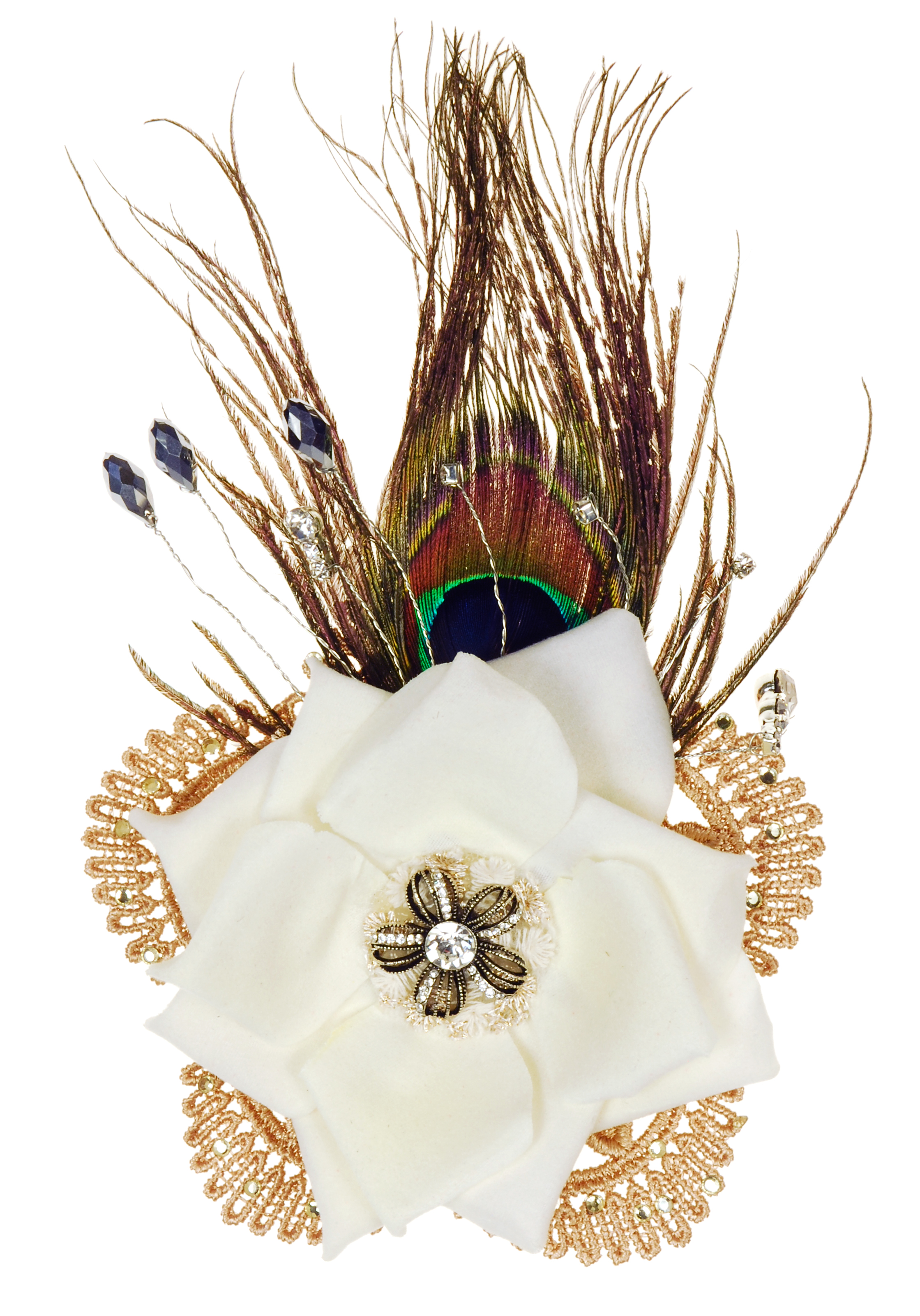 Ivory Peacock Rose Clip