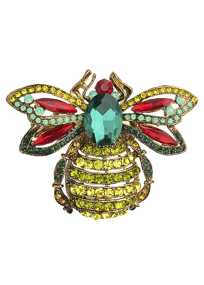 Emerald Crystal Bug Hairclip & Brooch