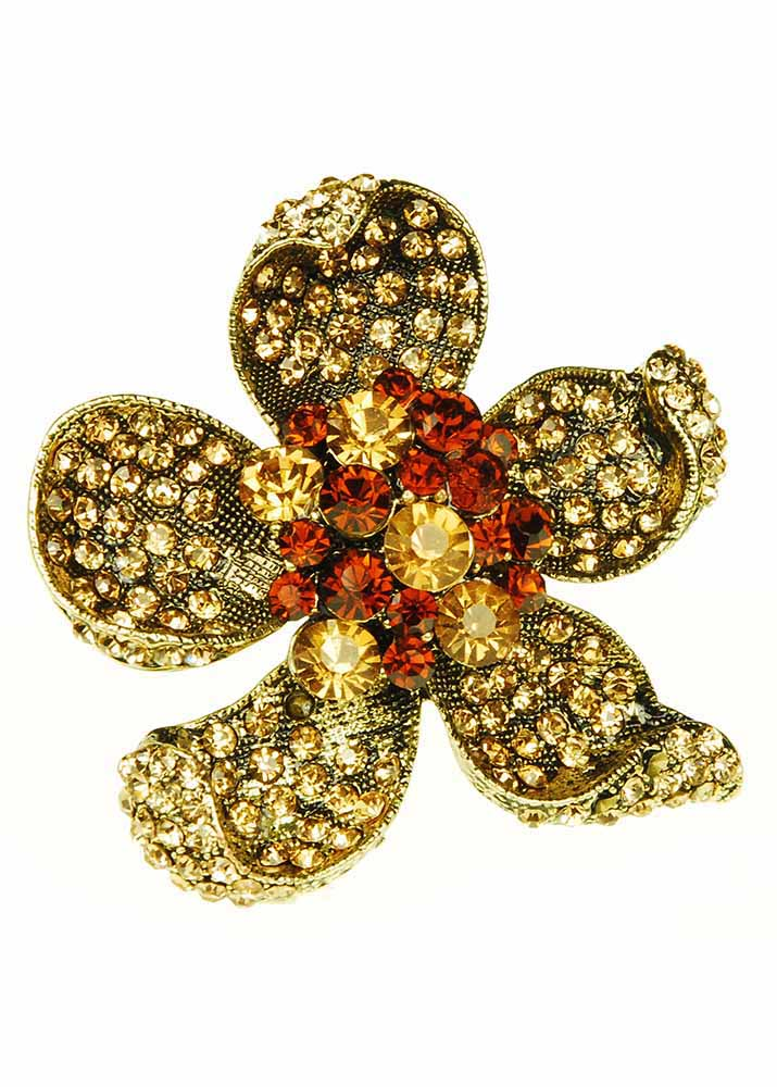 Golden Crystal Flower ring