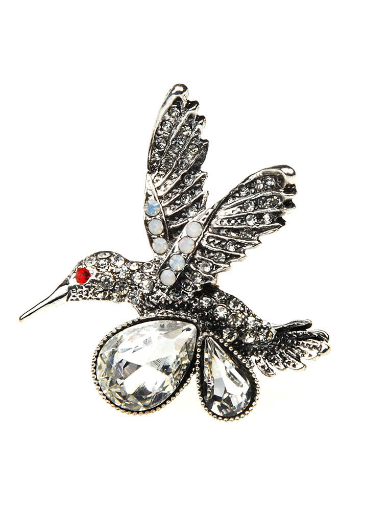 Silver Humming Bird Stretch Ring
