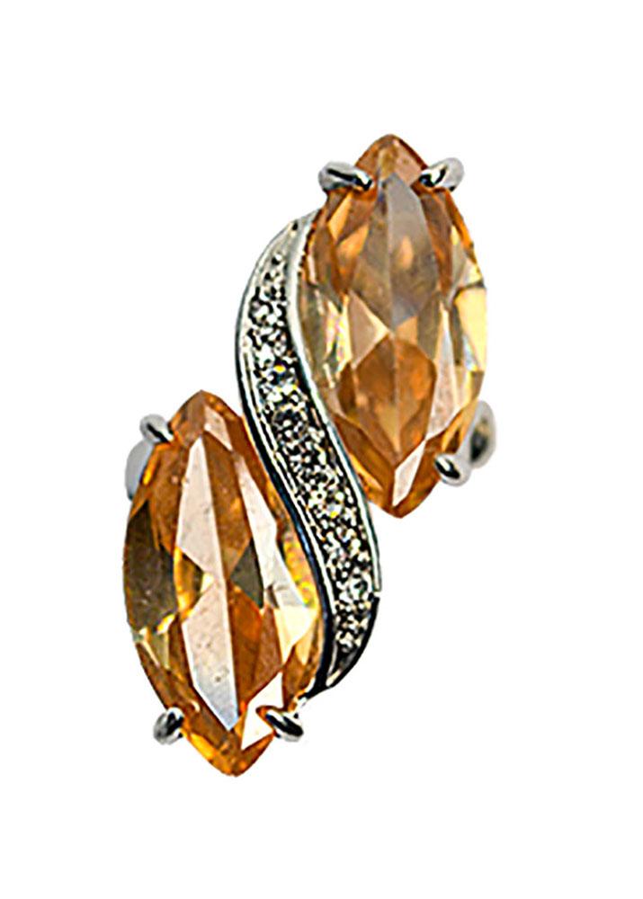 Peach Crystal Stretch Ring