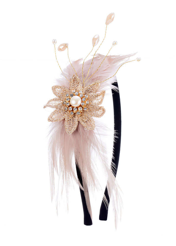 Honey Daphne Pearl & Feather Hairband