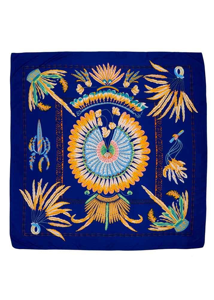 Blue Feather Silk Scarf