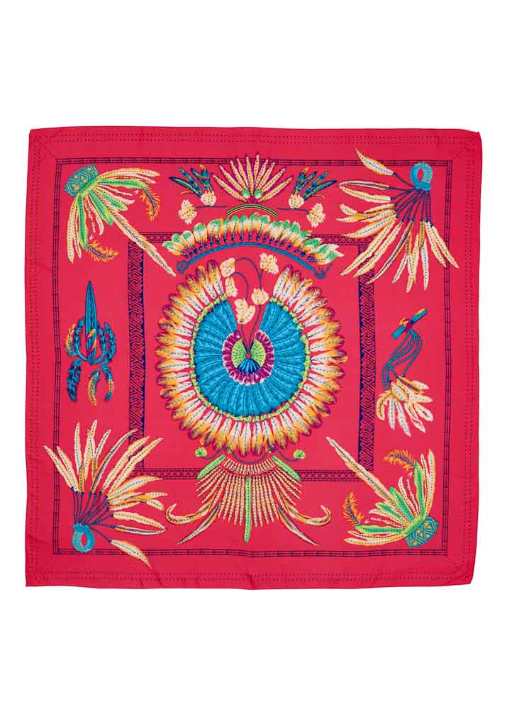 Fuschia Feather Silk Scarf
