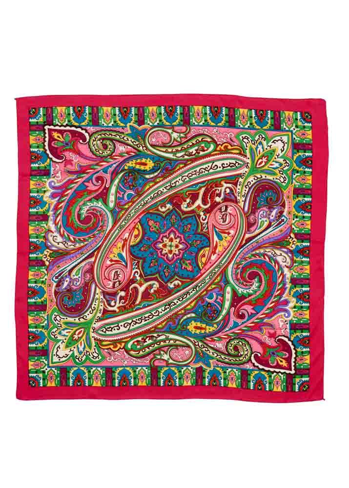 Cerise Baroque Silk Scarf