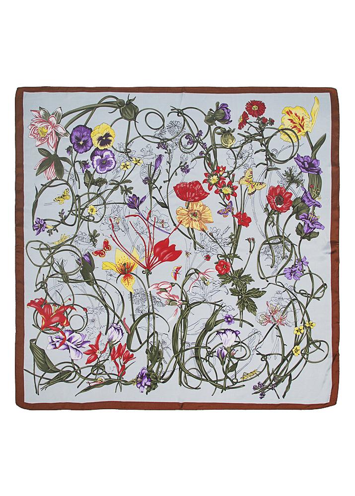 Grey Floral Silk Scarf