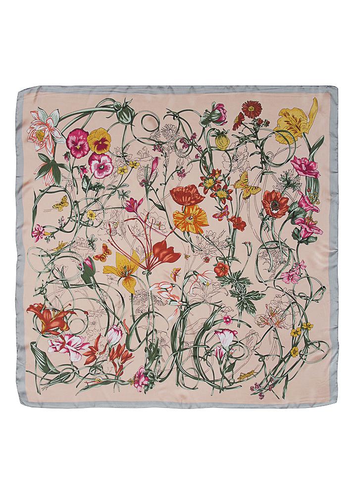 Pink Floral Silk Scarf