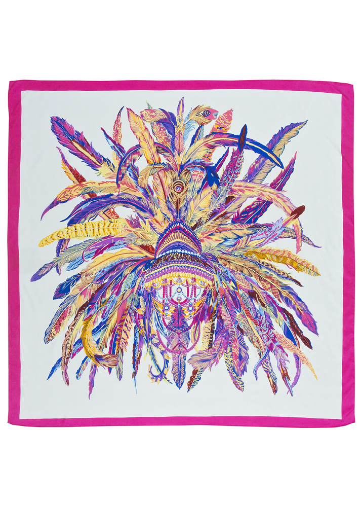 Cream Feather Headdress Silk Scarf