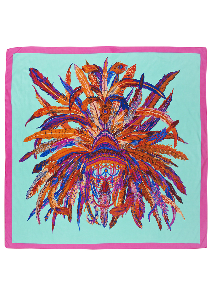 Aqua Feather Headdress Silk Scarf