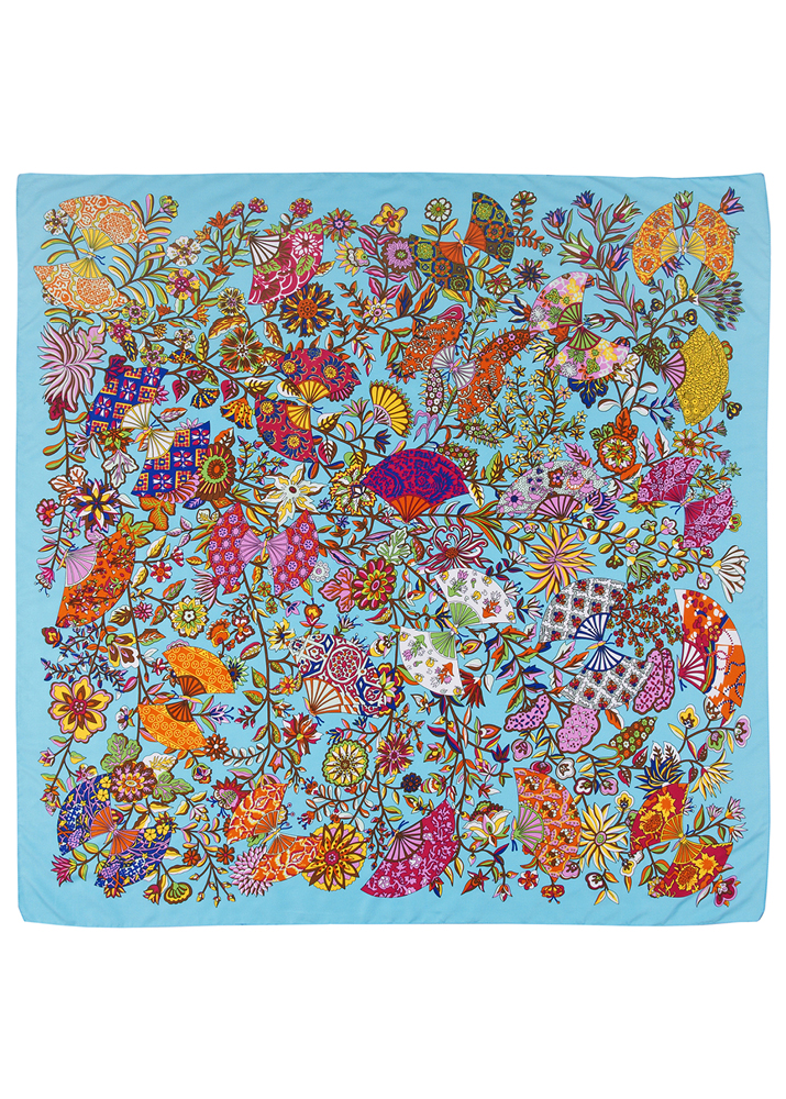 Aqua Floral Chloe Silk Scarf